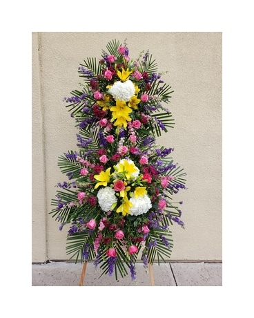 Multi Color Two Tier Standing Spray Flower Arrangement