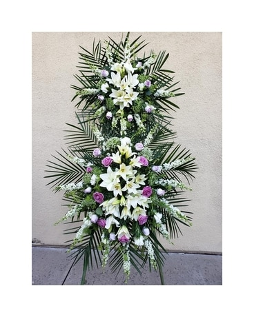 White and Lavender Two Tier Standing Spray Flower Arrangement