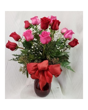 Dozen Roses - Red and Pink Flower Arrangement