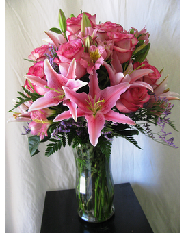Rose and Lily Vase - Pink and Pink Flower Arrangement