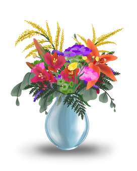 Colorful With Lilies Flower Arrangement