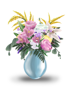 Pastel With Roses and Lilies Flower Arrangement