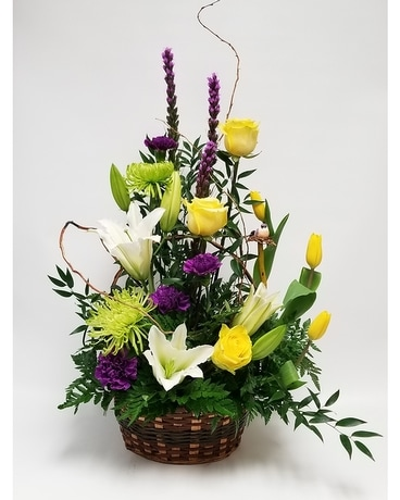 basket of spring Flower Arrangement