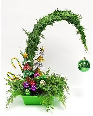 Grinch Tree Flower Arrangement