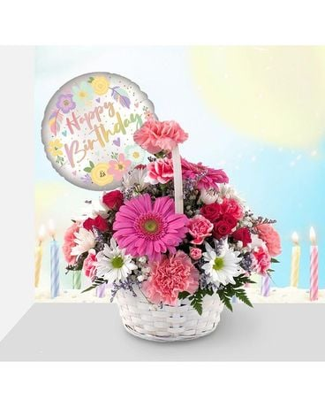 Birthday Butterfly Basket Bouquet