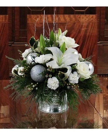 Silver and White Christmas Centerpiece