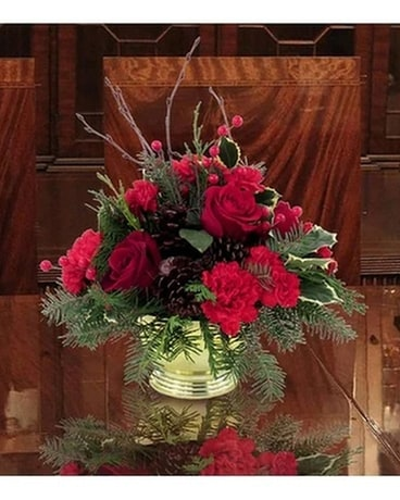 Gold Bowl Christmas Centerpiece