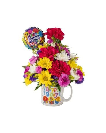 Bright Birthday Mug Flower Arrangement