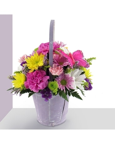 Pastel Spring Basket Flower Arrangement
