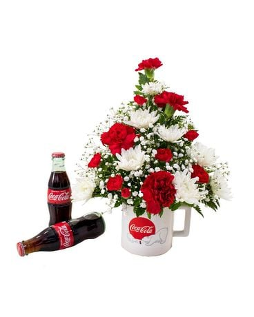 Coca-Cola Polar Bear Mug Flower Arrangement