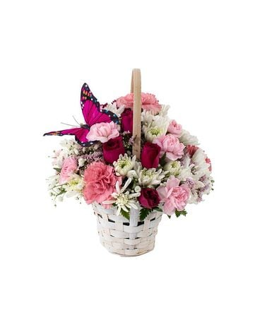 Pink Butterfly Basket Flower Arrangement