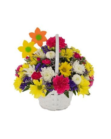 Very Vibrant Basket Flower Arrangement