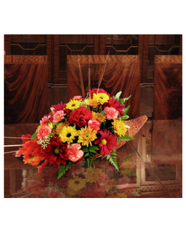 Thanksgiving Cornucopia Flower Arrangement