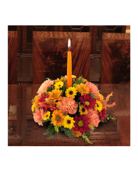 Single Candle Centerpiece Flower Arrangement