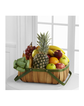 The FTD Thoughtful Gesture Fruit Basket Flower Arrangement