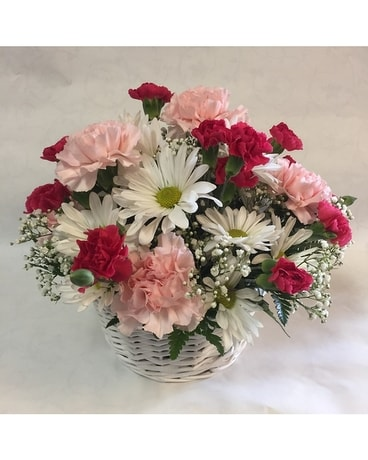 Delightful Daisy & Carnation Basket Flower Arrangement