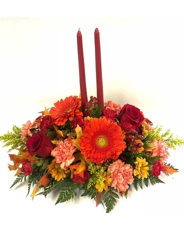 Oblong Gerbera & Roses Centerpiece with Candles Centerpiece