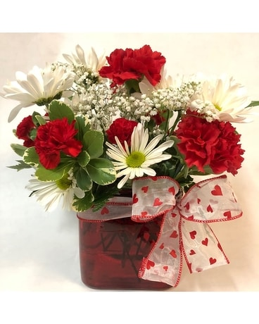 Hearts and Posies Valentine Cube Flower Arrangement