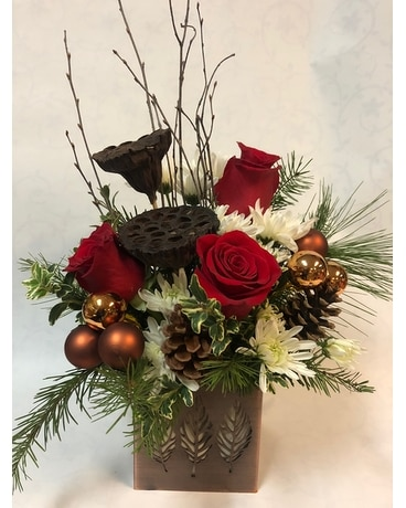 Winter Woodland Bouquet- With Red  Roses Flower Arrangement
