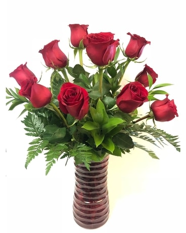 Red In Red- Dozen Flower Arrangement