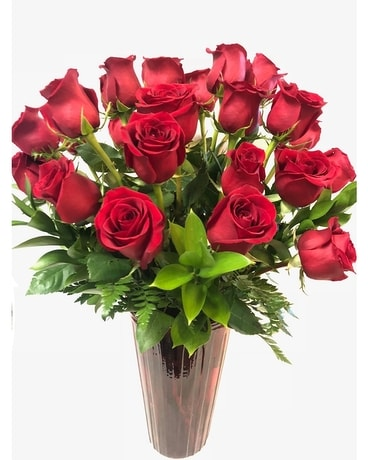 Red In Red- Two Dozen Flower Arrangement