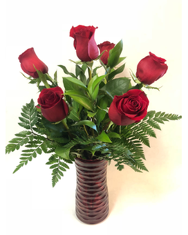 Red In Red - Half Dozen Flower Arrangement