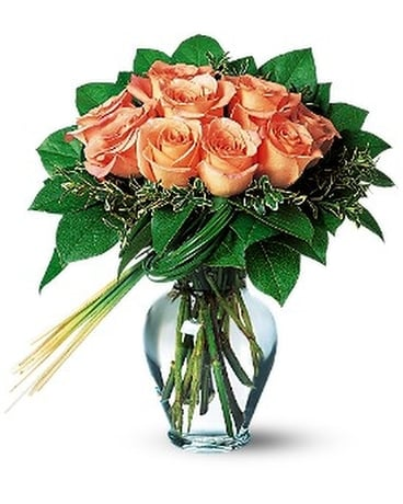Perfectly Peachy Roses Flower Arrangement