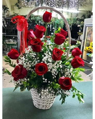 18 Red Rose Basket Flower Arrangement