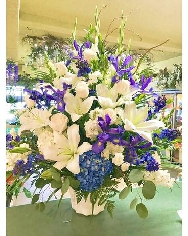 Elegant Blue And White Basket In
