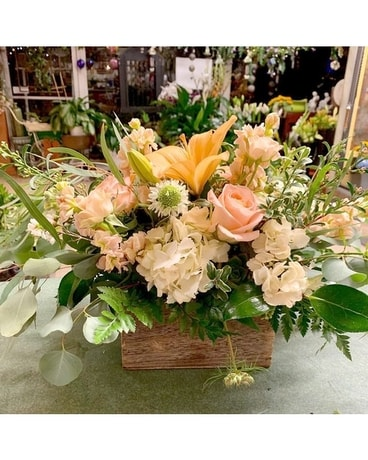 Garden Style Wooden Box Flower Arrangement
