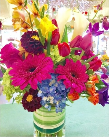 Colorful Cylinder Vase Flower Arrangement