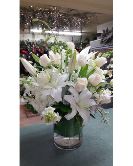 white cylinder arrangement Flower Arrangement
