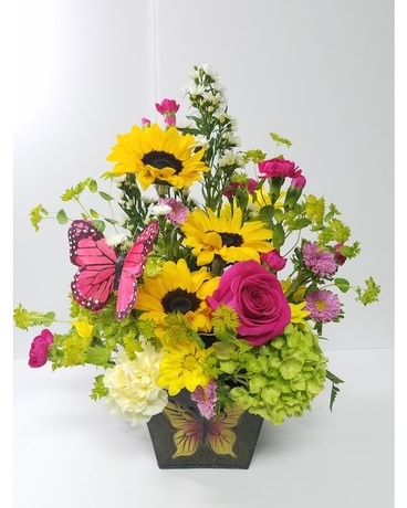 Garden Tin Flower Arrangement