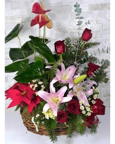 Holiday Mixer Basket Flower Arrangement