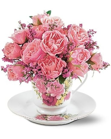 Tender Thoughts Teacup Flower Arrangement