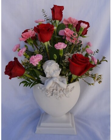 Angel Heart Shaped Container with Roses Flower Arrangement
