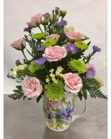 Pastel Rose Mug Flower Arrangement