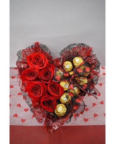 Roses and Chocolates Flower Arrangement