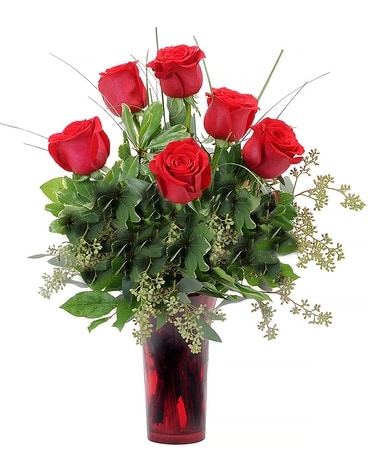 6 Premium Red Roses Flower Arrangement