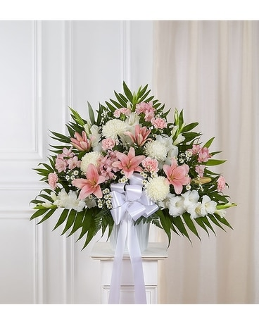 Heartfelt Sympathies Standing Basket Pink White Flower Arrangement