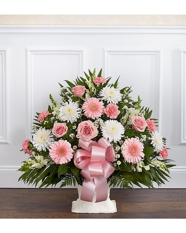 Heartfelt Tribute Floor Basket Pink White Flower Arrangement