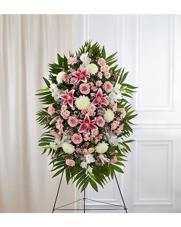 Pink White Sympathy Standing Spray Flower Arrangement