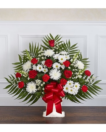 Heartfelt tribute floor basket red white in palm coast fl garden heartfelt tribute floor basket red white flower arrangement mightylinksfo