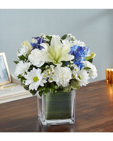 Healing Tears Blue White Flower Arrangement