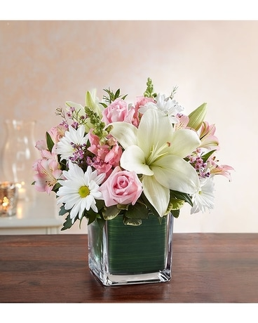 Healing Tears Pink White Flower Arrangement