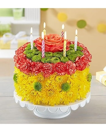 Birthday Wishes Flower Cake Yellow Arrangement