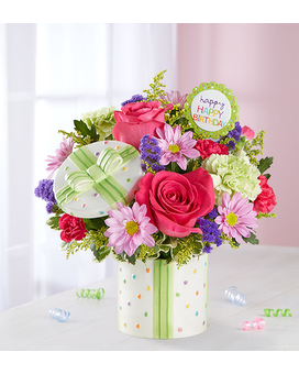 Happy Birthday Present Flower Arrangement