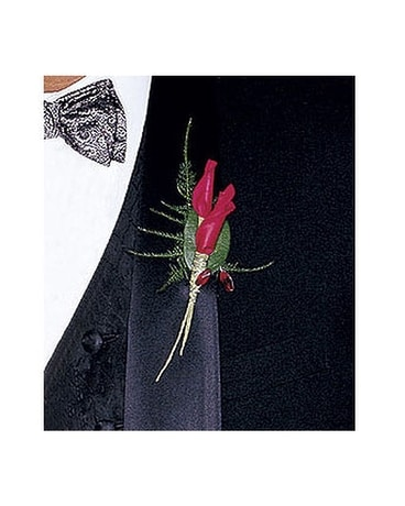 Red Rose Petals Boutonniere Flower Arrangement