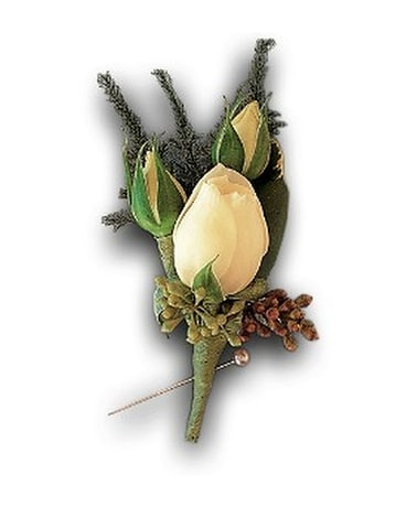 White Spray Rose Boutonniere Flower Arrangement