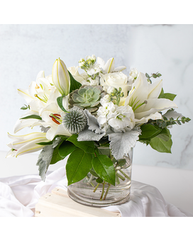 White Modern Elegance with Succulent Flower Arrangement
